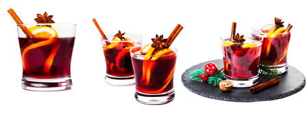 Set of Christmas mulled wine isolated on white background. Red Hot  wine or gluhwein with spices. High Resolution images