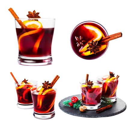 Christmas mulled wine isolated on white background. Red Hot  wine or gluhwein with spices, winter drink