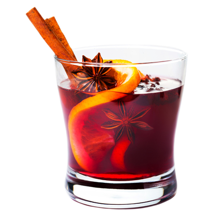 Christmas mulled wine isolated on white background. Red Hot  wine or gluhwein with spices, winter drink, macro