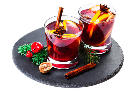 Mulled wine or gluhwein composition with Christmas Decorations Stock Photo