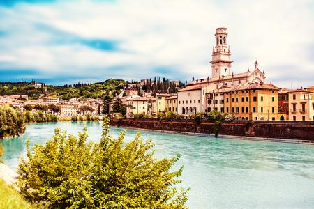 VERONA, ITALY - June 25, 2017: Verona. Veneto region.  City of Verona with river at sunny day. Italy