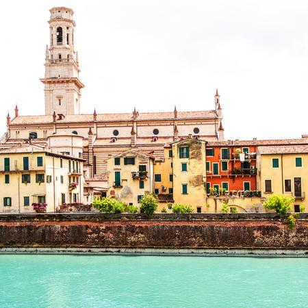VERONA, ITALY - June 25, 2017: Verona. Veneto region.  Panoramic view Image of Verona with river at sunny day