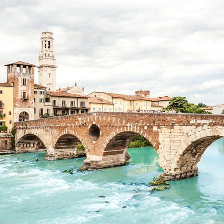VERONA, ITALY - June 25, 2017:  Verona.  Bridge Ponte Pietra in Verona on Adige river