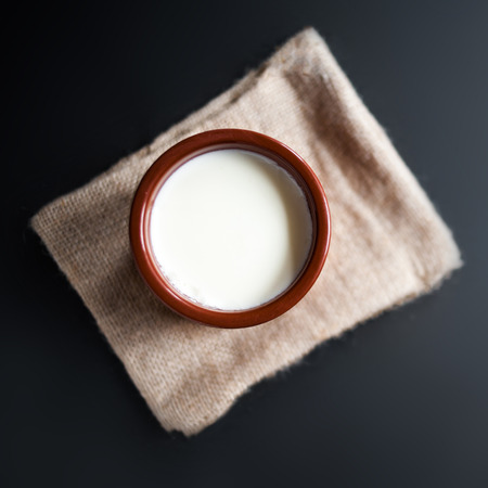 Sour  cream or natural  Cottage cheese curd  in traditional ceramic bowl on dark  background. Traditional Cuajada yogurt cream