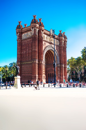 Barcelona, Spain - September 14, 2017: Triumph Arch of Barcelona in a summer day. Famous triumphal arch in the city of Barcelona in Catalonia, Spain,   built, by architect Josep Vilaseca i Casanovas Editorial