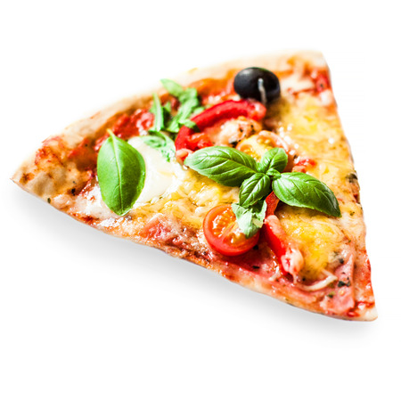 Slice of fresh italian classic Vegetarian  Pizza with cheese, tomatoes and basil leaf isolated on white background