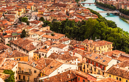 Aerial view of Verona, Italy, Veneto region. Beautiful sunny panorama with space for text. Travel concept