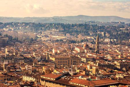 Beautiful Florence sunset city skyline. Panorama of  Florence, Italy