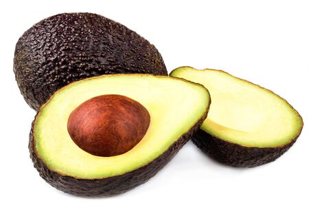 Fresh avocado isolated on white background. Whole and sliced avocado with core, macro, for your product design
