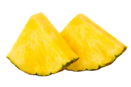 Two Pineapple slices. Ananas fruit  isolated on white background. Fresh pineapple macro. Stock Photo