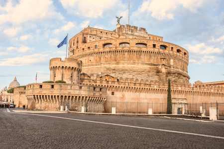 Famous Saint Angel Castle  in Rome, Italy. Travel  concept