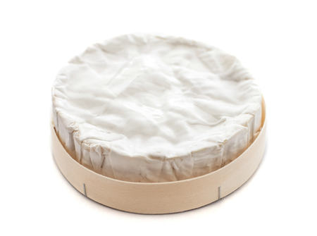 White Soft Brie Cheese. Camembert  isolated on white background, top view.