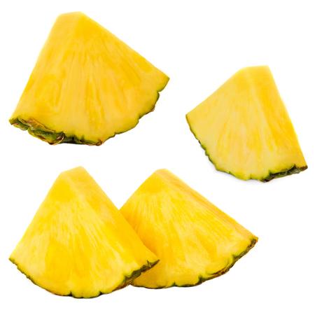 Sliced Pineapple. Ananas fruit  isolated on white background. Fresh pineapple closeup.