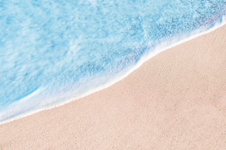 Beach, sand and blue ocean. Summer Background.  Copy space 版權商用圖片