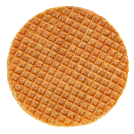 Dutch Caramel waffle, round stroopwafel isolated on a white background