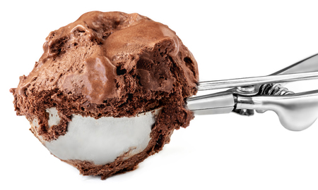 Chocolate ice cream scoop isolated on a white background.