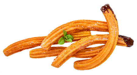 Churros sticks with sugar and chocolate sauce  isolated on white background. Churro - traditional Mexican  dessert. Fried pastry Banco de Imagens