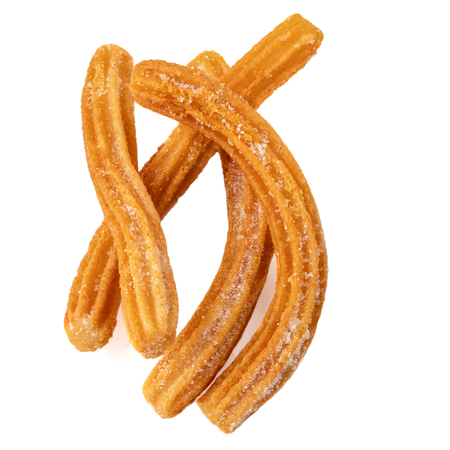 Churros  isolated on white background. Churro - traditional Mexican  dessert. Fried pastry