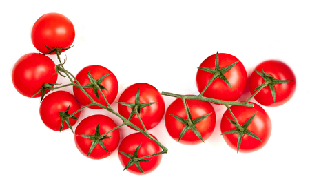 Cherry  tomatoes  isolated on white background.  Flat lay. Top view