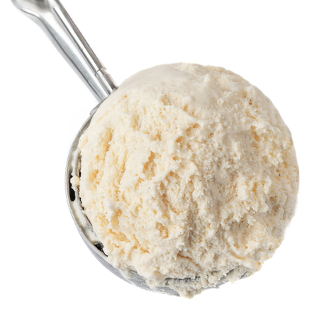 Vanilla ice cream with serving scoop isolated on white background, close up