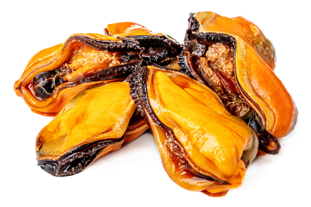 Mussels with no shell isolated on white background. Mussels ready to eat, close up