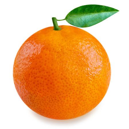 Orange fruit with leaves isolated on white background. Whole fresh and ripe orange close up