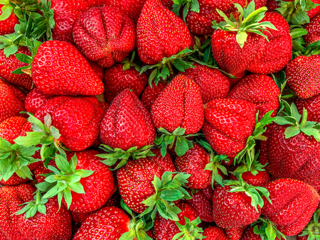 Strawberry. Fruit Summer Background. Ripe fresh strawberry berries  close up. Top view