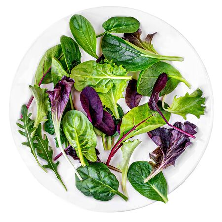 Fresh salad plate with Spinach, Chard, lettuce, rucola isolated on white background. Top view Banco de Imagens - 124565212