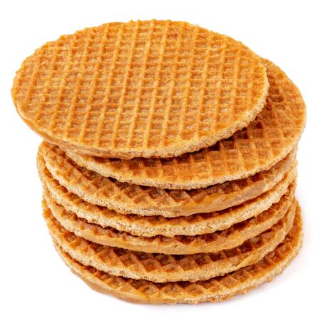 Belgium round waffles isolated on white background. Stacked Dutch waffles  Top view