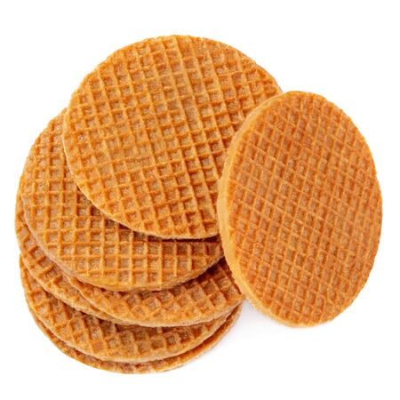 Belgium round waffles isolated on white background. Stack of  Dutch waffles  Top view