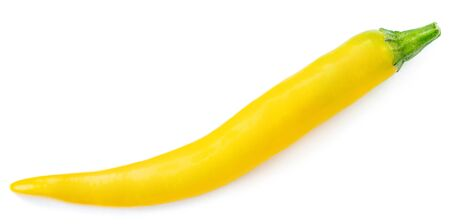 Yellow pepper isolated on a white background. Fresh colorful  pepper close up.