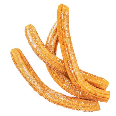 Churros isolated on white background. Traditional spanish snack - churro. Top view Banco de Imagens