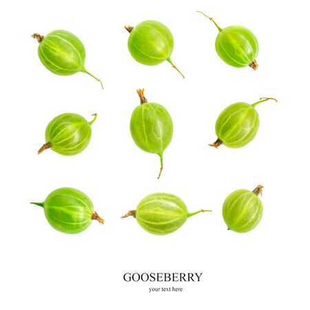 Creative layout made of green Gooseberry. Fresh Gooseberries isolated on white background. Flat lay. Top view