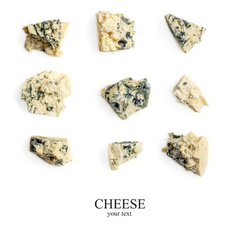 Creative layout made of Blue cheese. Gorgonzola cheese isolated on a white background. Food concept, close up. Flat lay Banco de Imagens