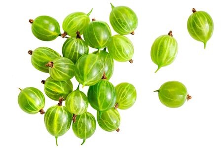 Gooseberry. Fresh berries isolated on white background. Flat lay. Top view