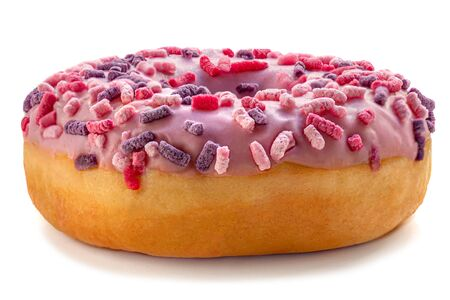 Donut with sprinkles isolated on white background. Strawberry Donut Banco de Imagens