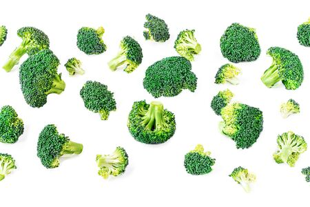 Broccoli Pattern. Creative layout made of broccoli. Food Concept. Flat lay. Banco de Imagens