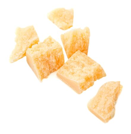 Pieces of parmesan cheese isolated on white background 版權商用圖片
