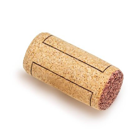 Wine cork Isolated on white background. Top view. Wine concept