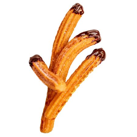 Churros - fried dough pastry with sugar and chocolate sauce dip isolated on a white background. Churro sticks, traditional Spanish snack Reklamní fotografie