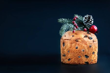 Christmas cake panettone. Delicious  Christmas cake decorated with fir tree branch on black background, copyspace Reklamní fotografie