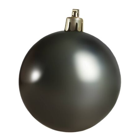 Black Christmas ball isolated on white background. Close up. Traditional Christmas Symbol.