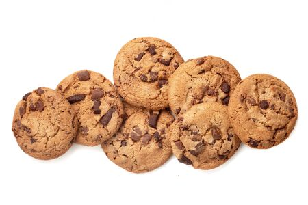 Chocolate chip cookies isolated on white background. Tasty Pastry