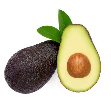Avocado Isolated. Tropical Avocado with leaves on white background. Creative layout. Flat lay. Fresh Food