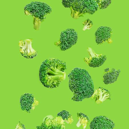Creative layout made of broccoli. Flying Broccoli. Pattern. Fresh green Vegetables. Top view