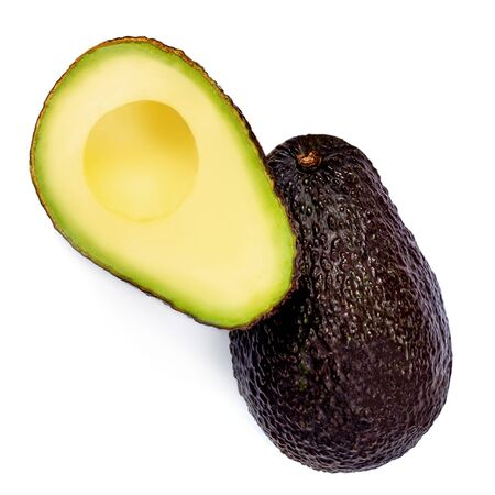 Avocado Isolated. Tropical Haas Avocado on white background. Creative layout. Flat lay. Fresh Food