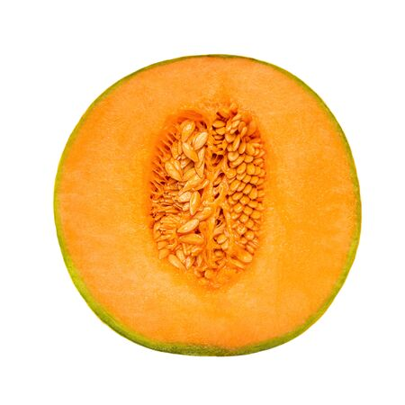 Fresh Half cantaloupe Melon fruit isolated  on white background. Flat lay. Top view