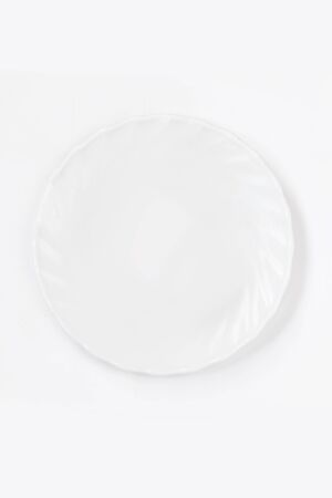 Empty White plate on white background top view. Flat lay