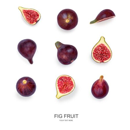 Fig Pattern. Ripe Purple Figs Fruits  isolated  on white background. Autumn food creative layout. Top view. Flat lay