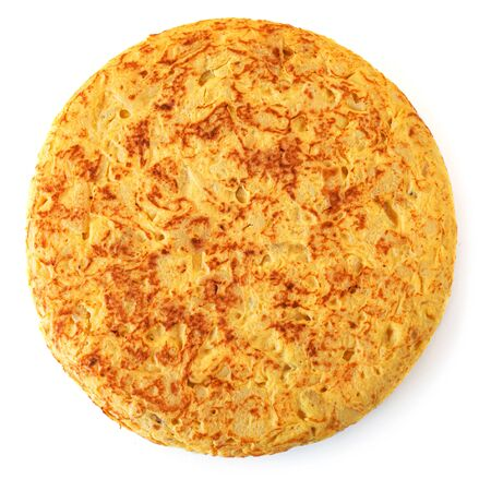 Authentic Spanish potato omelet called tortilla de patatas isolated on white background.